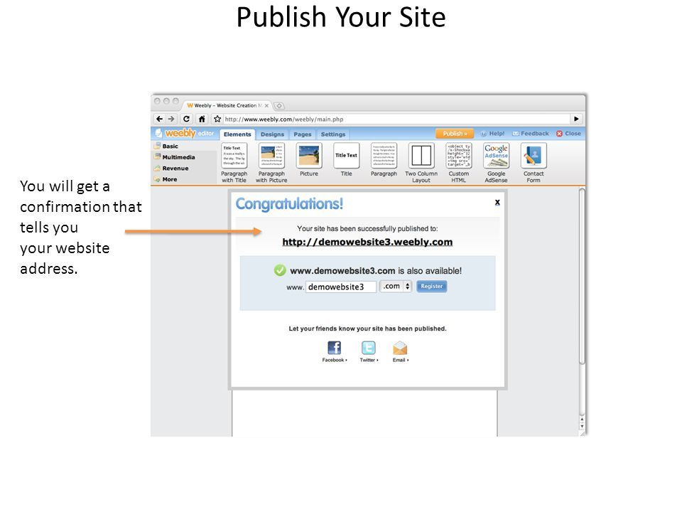 Publish Your Site You will get a confirmation that tells you your website address.