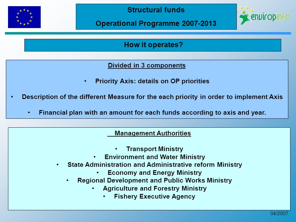 04/2007 Divided in 3 components Priority Axis: details on OP priorities Description of the different Measure for the each priority in order to implement Axis Financial plan with an amount for each funds according to axis and year.