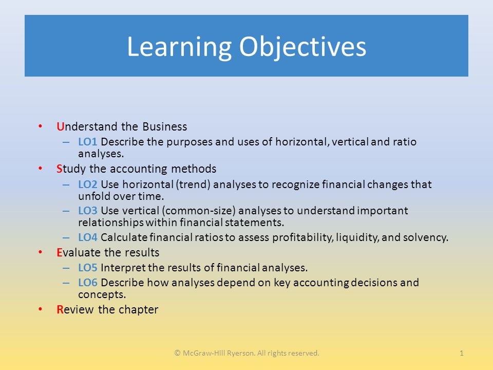 Learning Objectives Understand the Business – LO1 Describe the purposes and uses of horizontal, vertical and ratio analyses.
