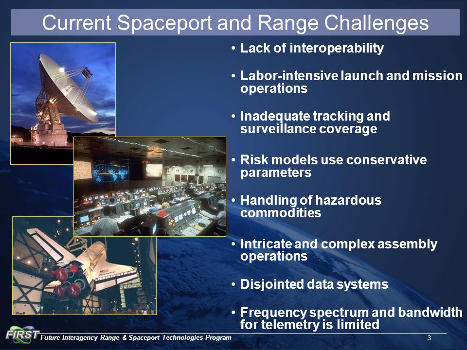 Future Interagency Range & Spaceport Technologies Program 3 Current Spaceport and Range Challenges Lack of interoperability Labor-intensive launch and mission operations Inadequate tracking and surveillance coverage Risk models use conservative parameters Handling of hazardous commodities Intricate and complex assembly operations Disjointed data systems Frequency spectrum and bandwidth for telemetry is limited