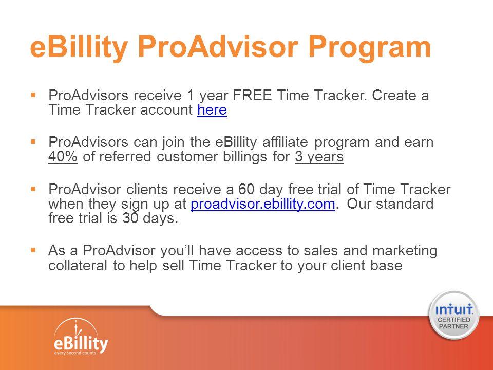 ProAdvisor Program Overview Get 1 year of Time Tracker for