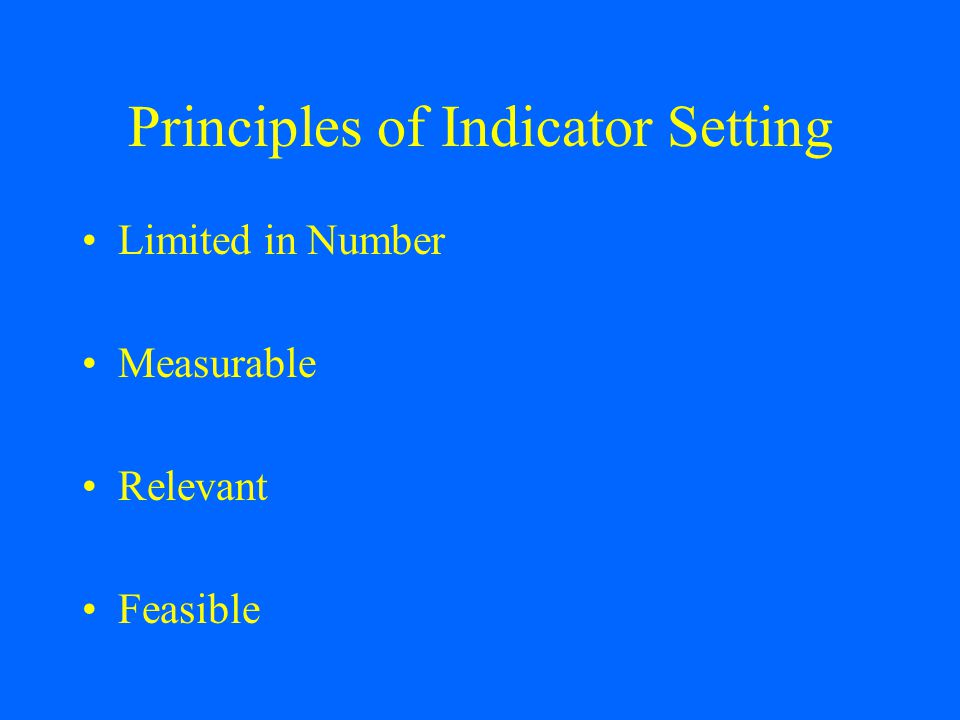 Principles of Indicator Setting Limited in Number Measurable Relevant Feasible