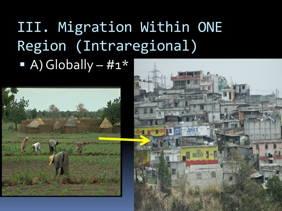 III. Migration Within ONE Region (Intraregional)  A) Globally – #1*