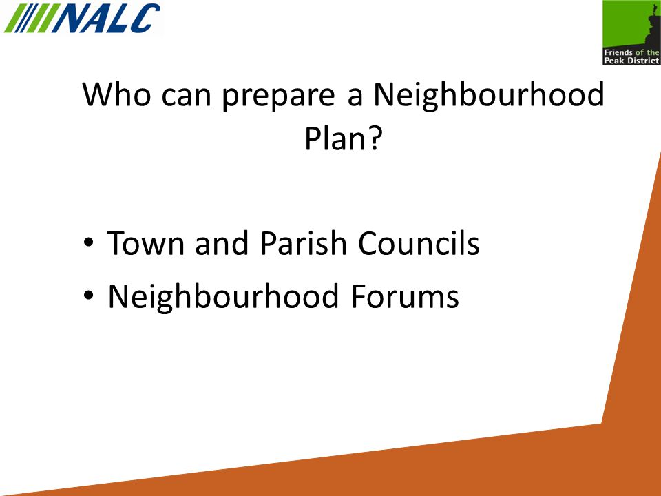 Who can prepare a Neighbourhood Plan Town and Parish Councils Neighbourhood Forums
