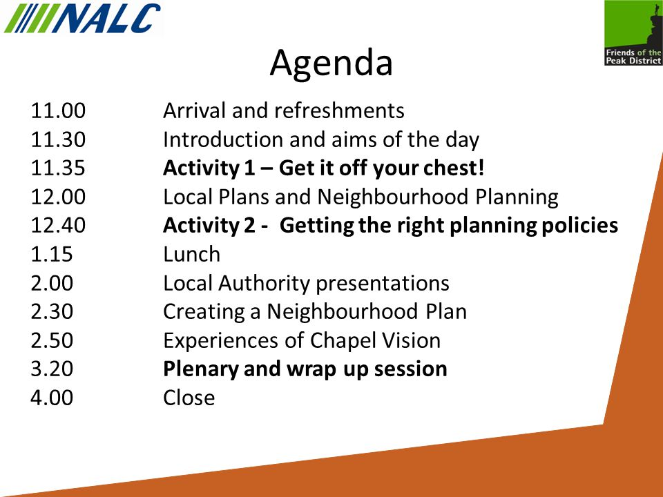 Agenda 11.00Arrival and refreshments 11.30Introduction and aims of the day 11.35Activity 1 – Get it off your chest.