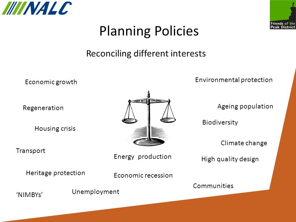 Planning Policies Reconciling different interests Economic growth Environmental protection Climate change Regeneration High quality design Communities Biodiversity Transport Housing crisis Ageing population Heritage protection Unemployment Energy production Economic recession 'NIMBYs'