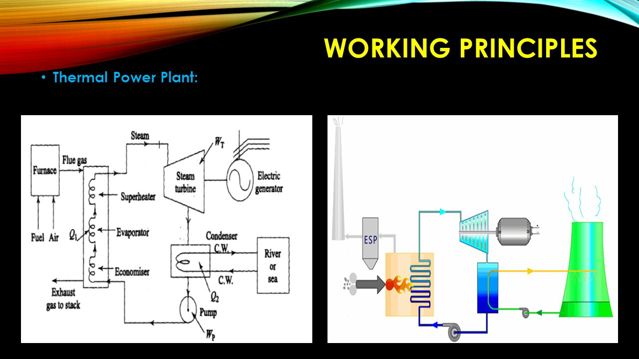 WORKING PRINCIPLES Thermal Power Plant: