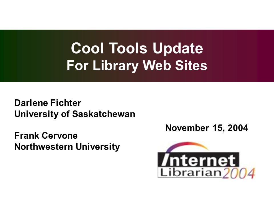 overview cool tools update for library web sites darlene fichter