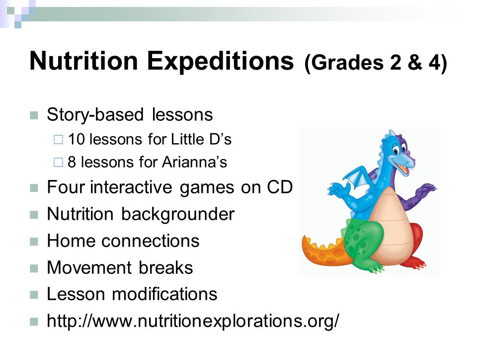 Nutrition Expeditions (Grades 2 & 4) Story-based lessons  10 lessons for Little D's  8 lessons for Arianna's Four interactive games on CD Nutrition backgrounder Home connections Movement breaks Lesson modifications