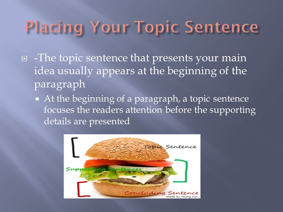  -The topic sentence that presents your main idea usually appears at the beginning of the paragraph  At the beginning of a paragraph, a topic sentence focuses the readers attention before the supporting details are presented