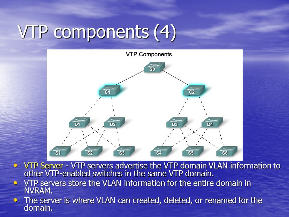 VTP components (4) VTP Server - VTP servers advertise the VTP domain VLAN information to other VTP-enabled switches in the same VTP domain.