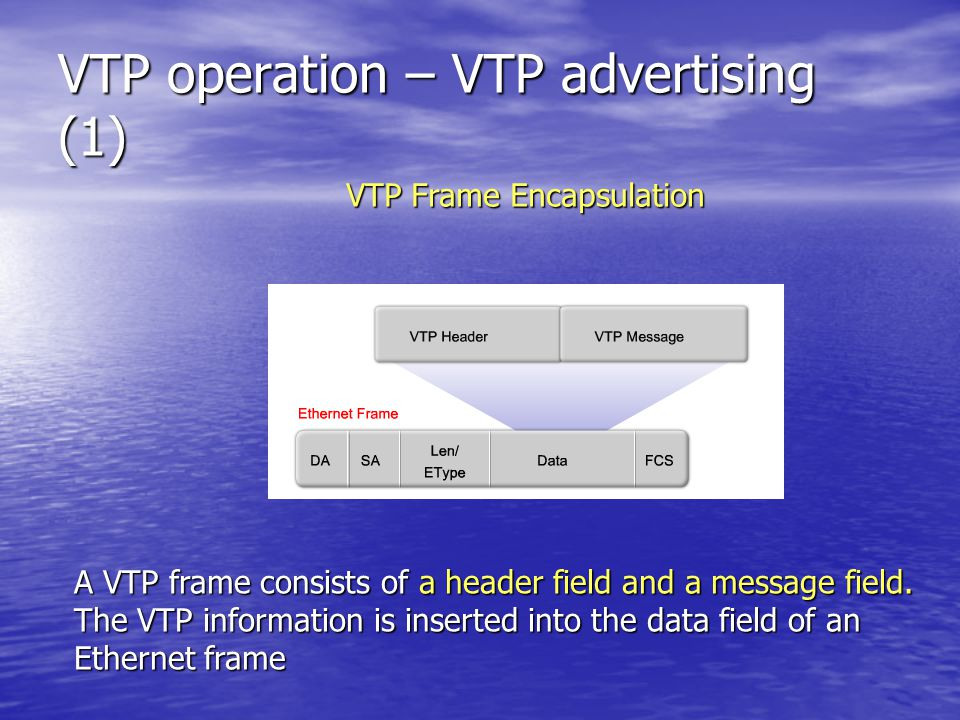 VTP operation – VTP advertising (1) A VTP frame consists of a header field and a message field.