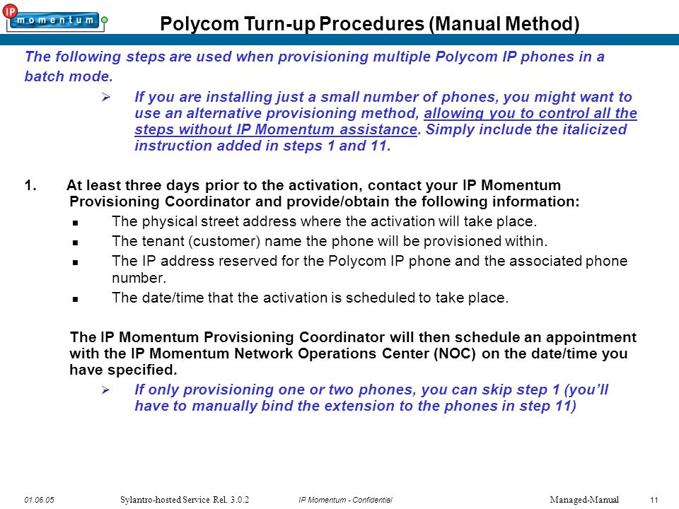 IP Momentum Confidential Polycom IP Phone Provisioning Guide