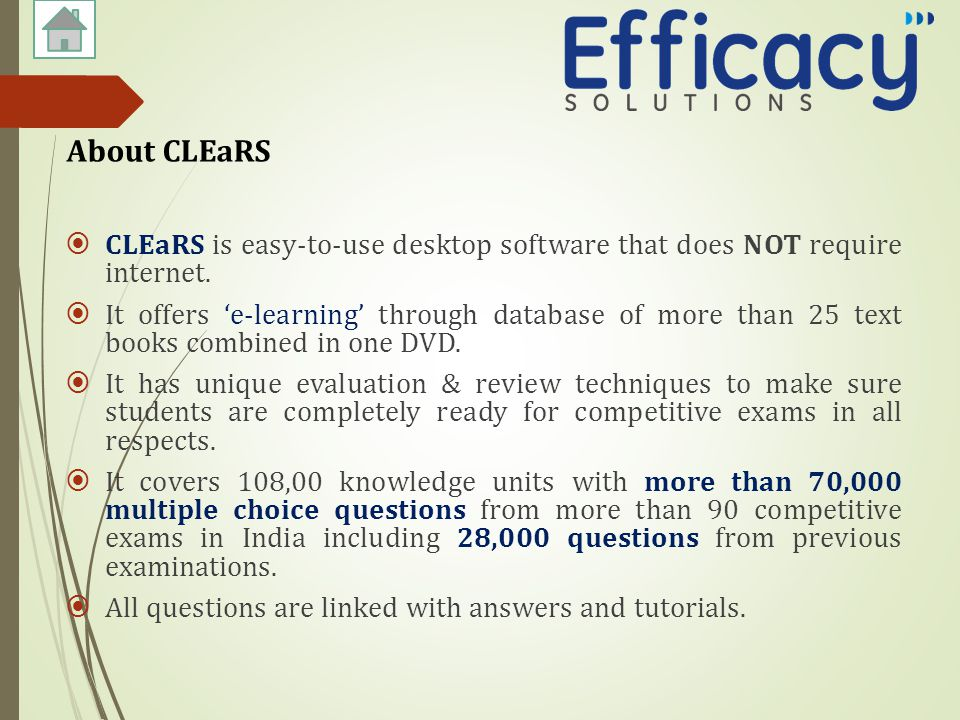  CLEaRS is easy-to-use desktop software that does NOT require internet.