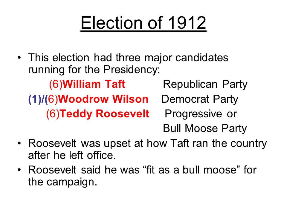 the election of 1912 Candidates and their patforms learn with flashcards, games, and more — for free.