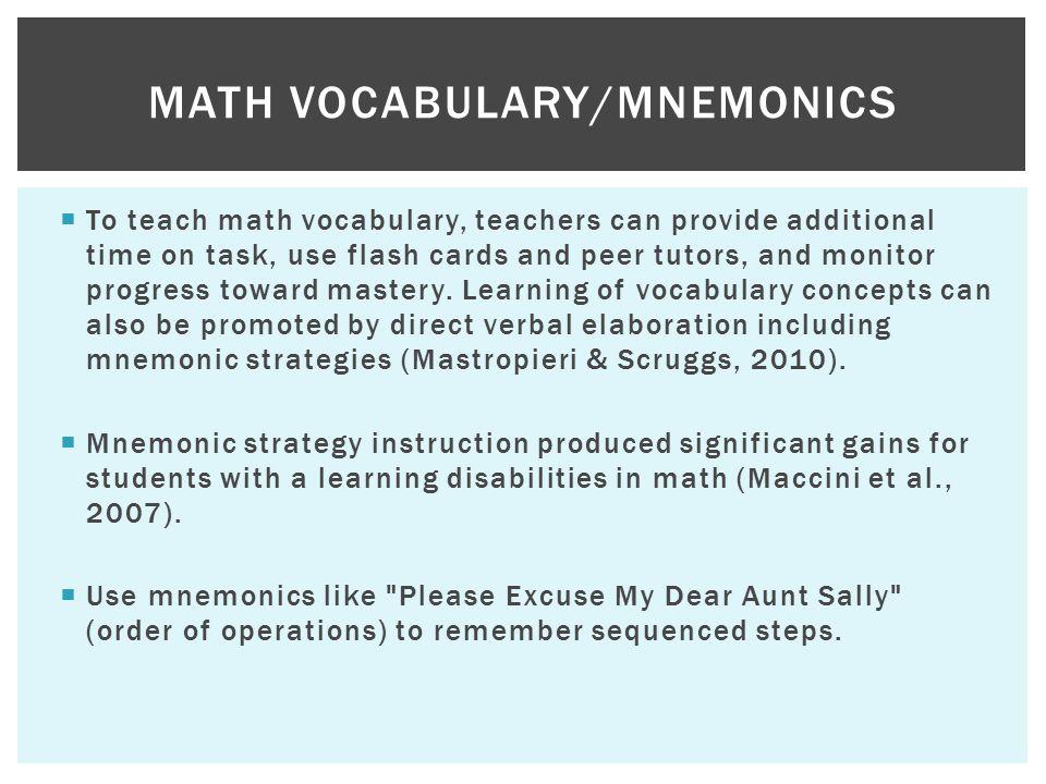 Vocabulary CRA Fluency Problem Solving MATH METHODS. - ppt download