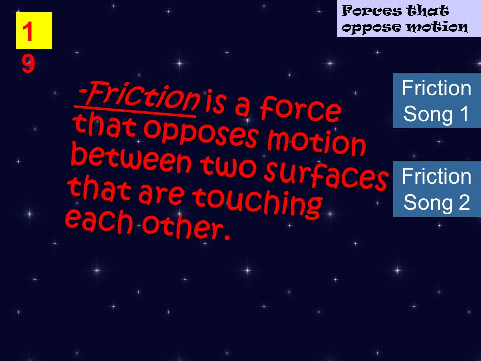 1919 -Friction is a force that opposes motion between two surfaces that are touching each other.
