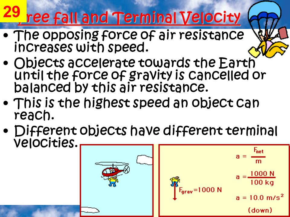 Free fall and Terminal Velocity The opposing force of air resistance increases with speed.