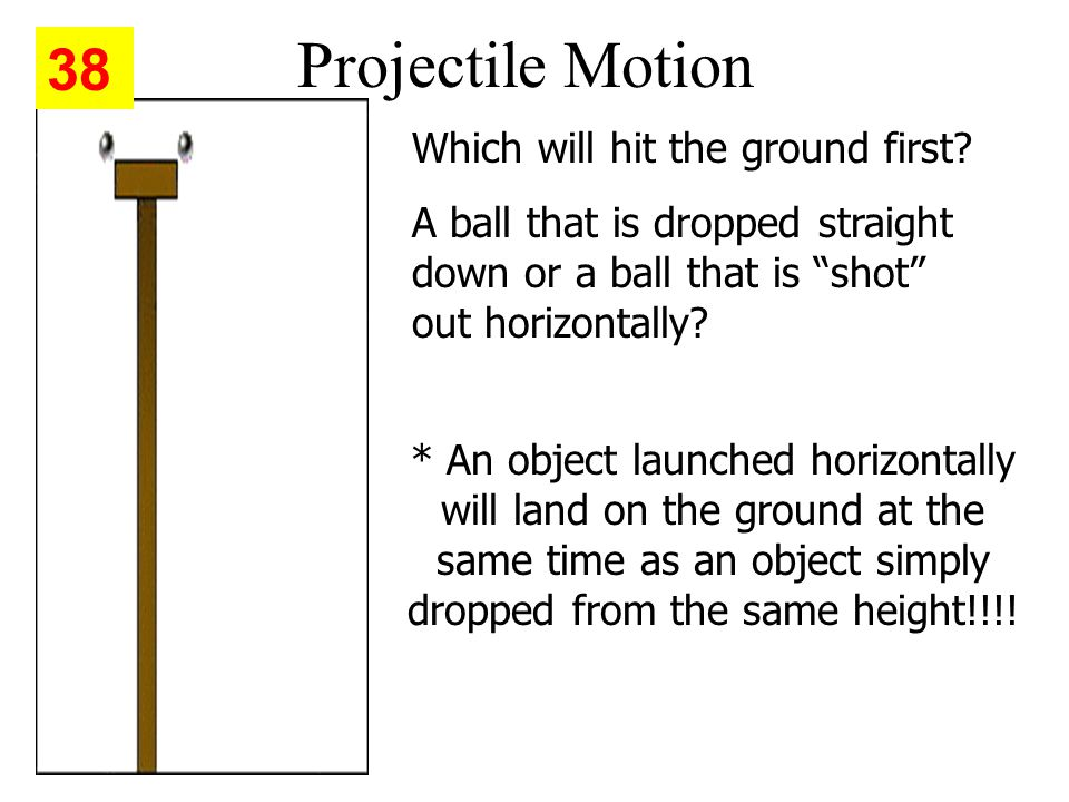 Projectile Motion Which will hit the ground first.