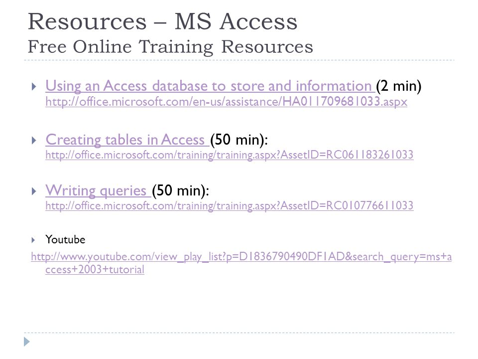 Resources – MS Access Free Online Training Resources  Using an