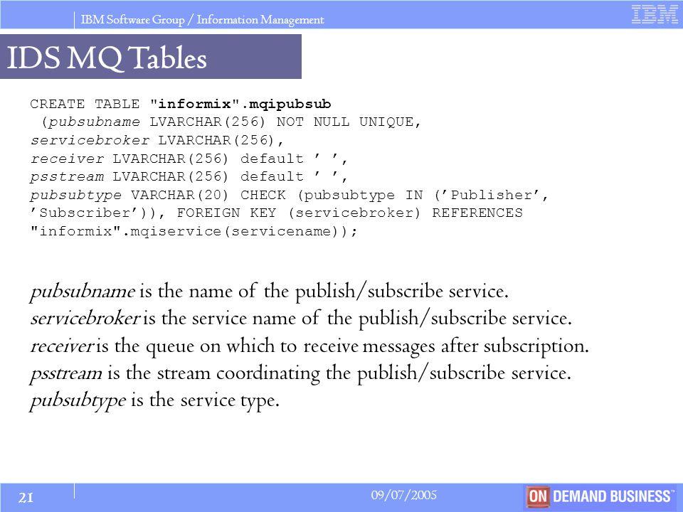 IBM Software Group / Information Management 09/07/2005 © 2005 IBM