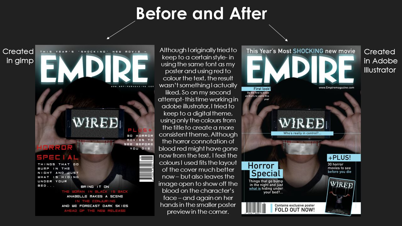 Before and After Created in gimp Created in Adobe Illustrator Although I originally tried to keep to a certain style- in using the same font as my poster and using red to colour the text, the result wasn't something I actually liked.