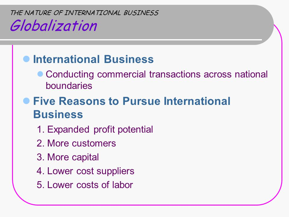 THE NATURE OF INTERNATIONAL BUSINESS Globalization International Business Conducting commercial transactions across national boundaries Five Reasons to Pursue International Business 1.