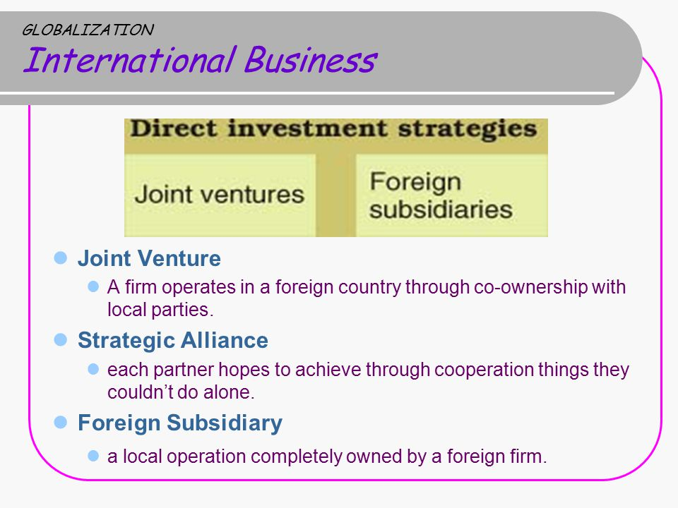 GLOBALIZATION International Business Joint Venture A firm operates in a foreign country through co-ownership with local parties.
