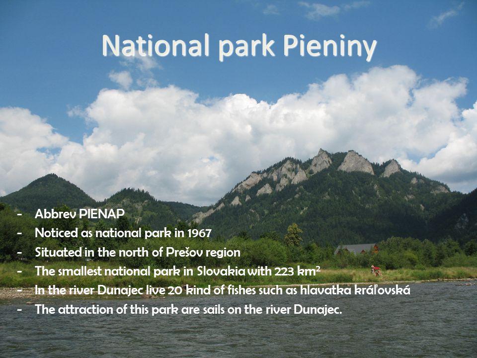 Prešov region National parks  National park Pieniny -Abbrev