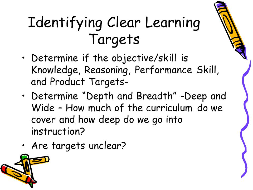 Identifying Clear Learning Targets Determine if the objective/skill is Knowledge, Reasoning, Performance Skill, and Product Targets- Determine Depth and Breadth -Deep and Wide – How much of the curriculum do we cover and how deep do we go into instruction.