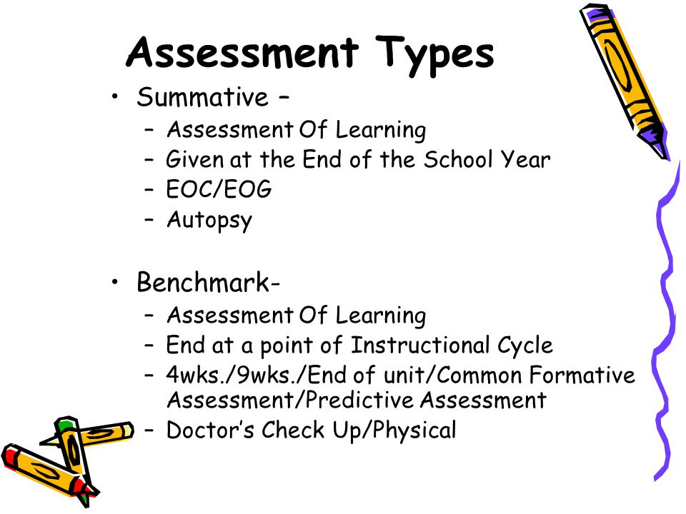 Assessment Types Summative – –Assessment Of Learning –Given at the End of the School Year –EOC/EOG –Autopsy Benchmark- –Assessment Of Learning –End at a point of Instructional Cycle –4wks./9wks./End of unit/Common Formative Assessment/Predictive Assessment –Doctor's Check Up/Physical