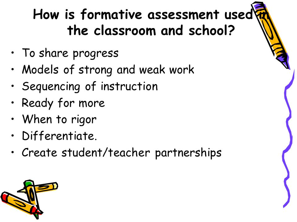 How is formative assessment used in the classroom and school.