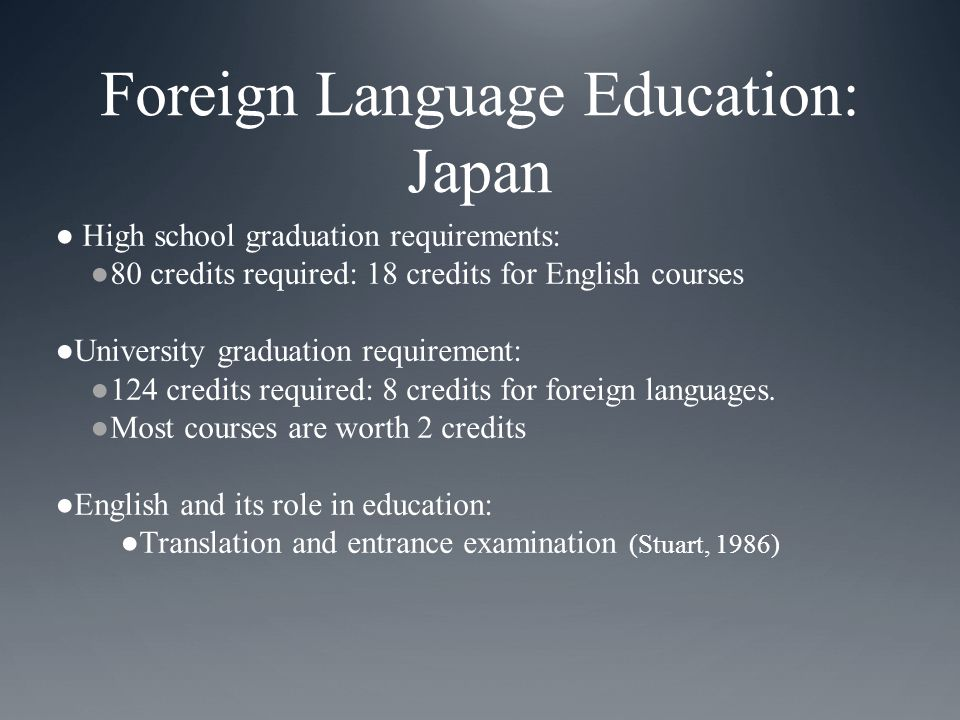 Foreign Language Education: Japan ● High school graduation requirements: ●80 credits required: 18 credits for English courses ●University graduation requirement: ●124 credits required: 8 credits for foreign languages.