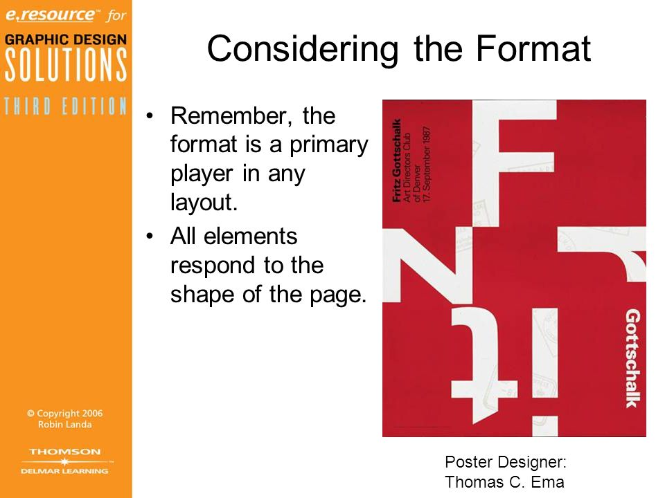 Considering the Format Remember, the format is a primary player in any layout.