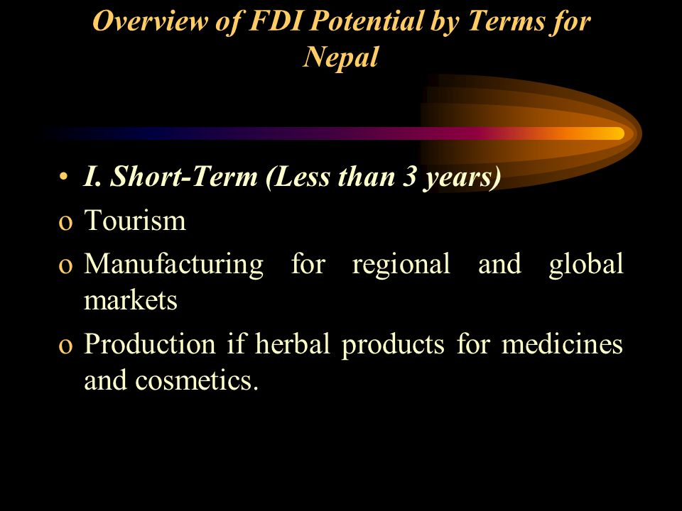Overview of FDI Potential by Terms for Nepal I.