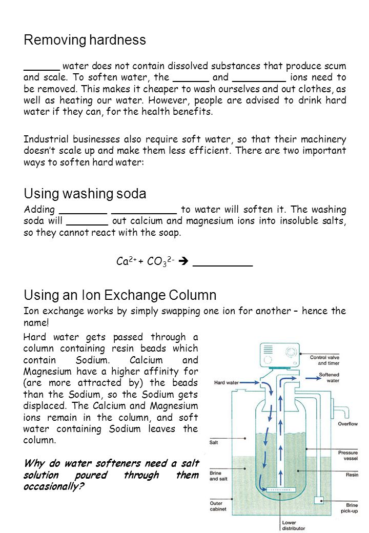 Removing hardness ______ water does not contain dissolved substances that produce scum and scale.