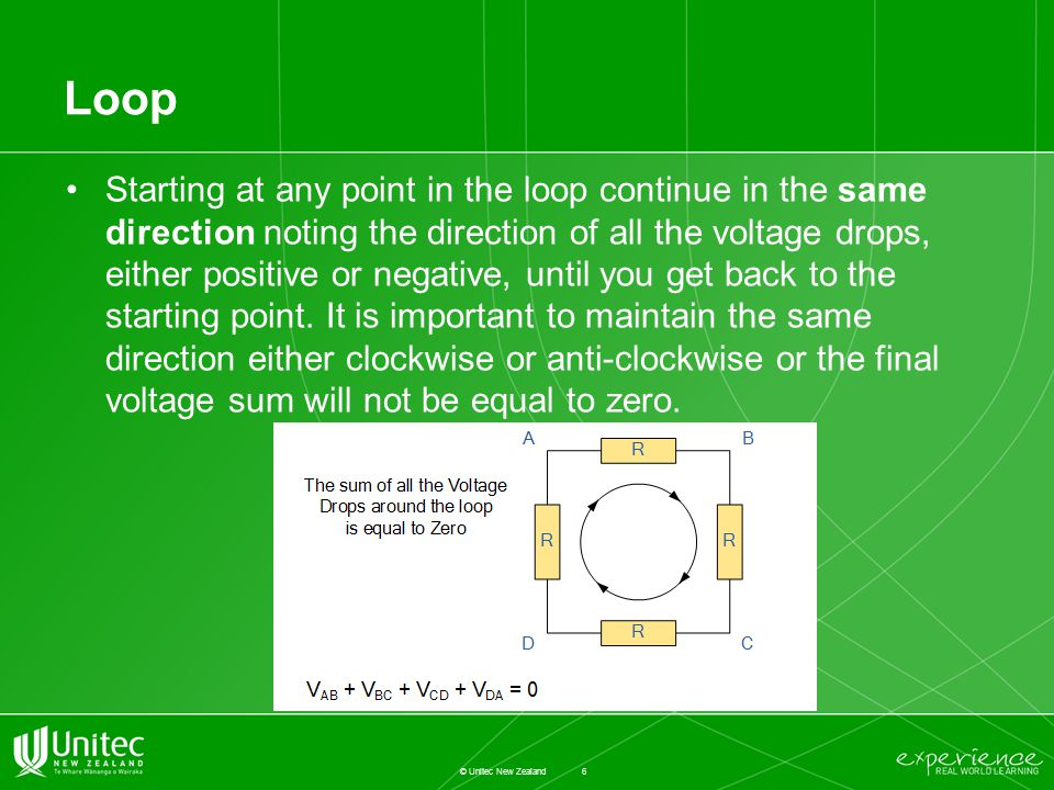 Loop Starting at any point in the loop continue in the same direction noting the direction of all the voltage drops, either positive or negative, until you get back to the starting point.