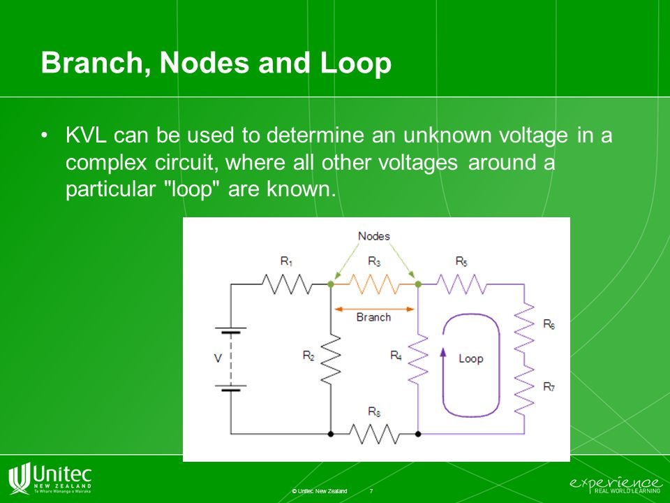 Branch, Nodes and Loop KVL can be used to determine an unknown voltage in a complex circuit, where all other voltages around a particular loop are known.