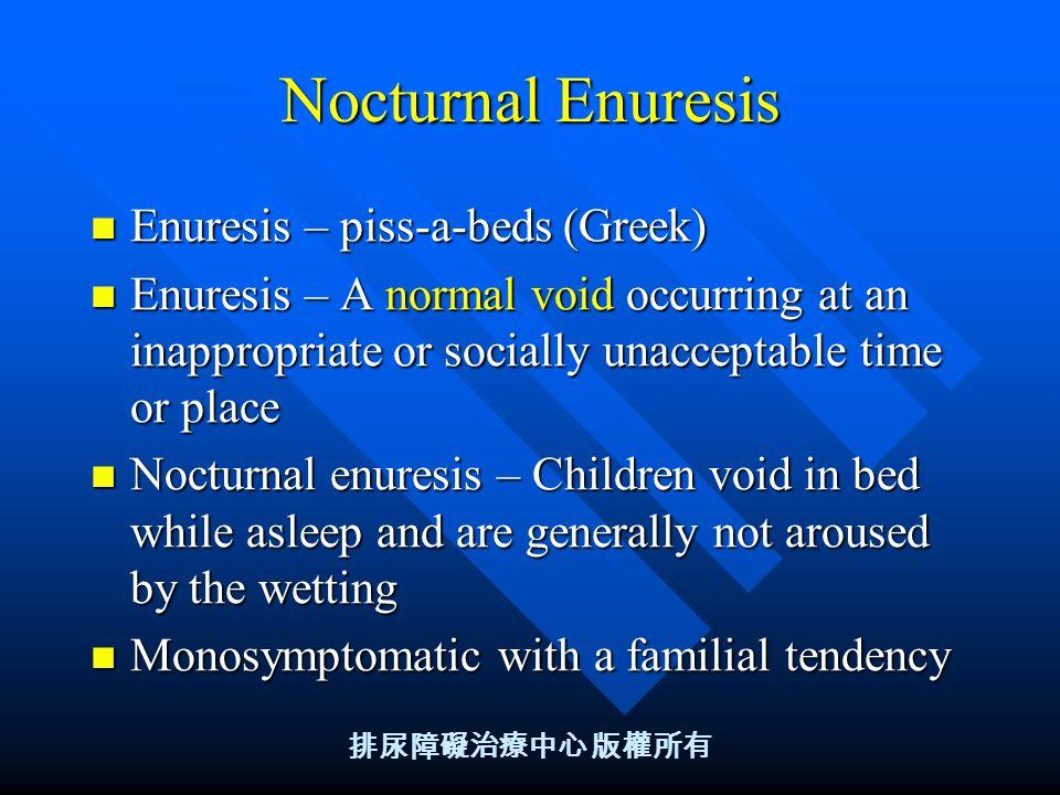 Final, sorry, adult nocturnal enuresis