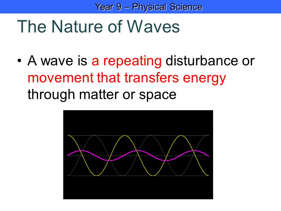 Year 9 – Physical Science Year 9 – Physical Science The Nature of Waves A wave is a repeating disturbance or movement that transfers energy through matter or space