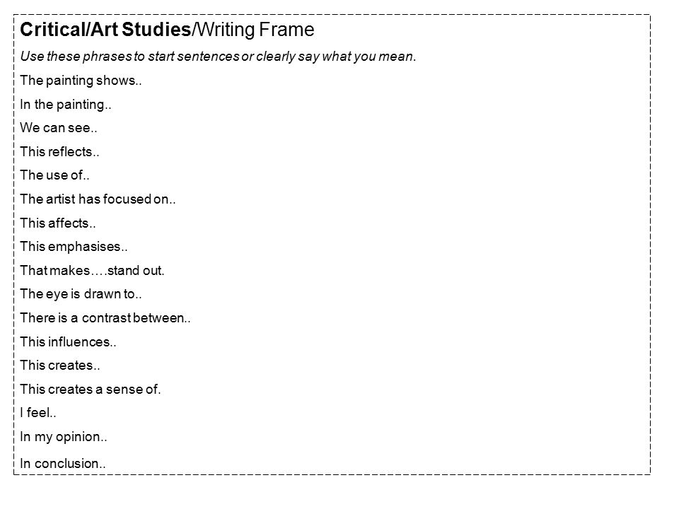 Critical/Art Studies/Writing Frame Use these phrases to start sentences or clearly say what you mean.