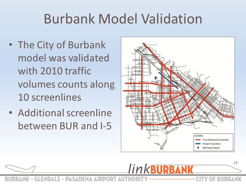 Burbank Model Validation The City of Burbank model was validated with 2010 traffic volumes counts along 10 screenlines Additional screenline between BUR and I-5 24