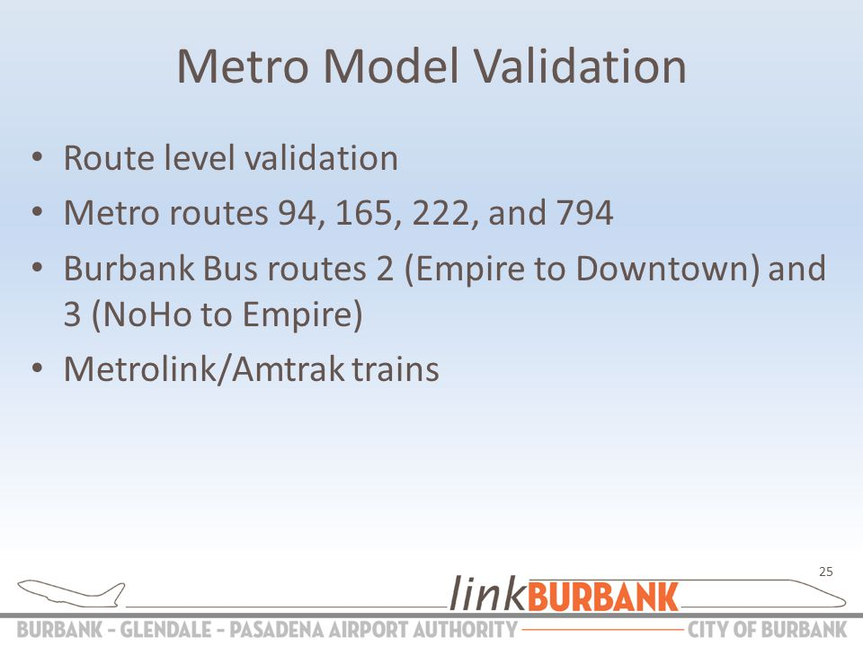 Metro Model Validation Route level validation Metro routes 94, 165, 222, and 794 Burbank Bus routes 2 (Empire to Downtown) and 3 (NoHo to Empire) Metrolink/Amtrak trains 25