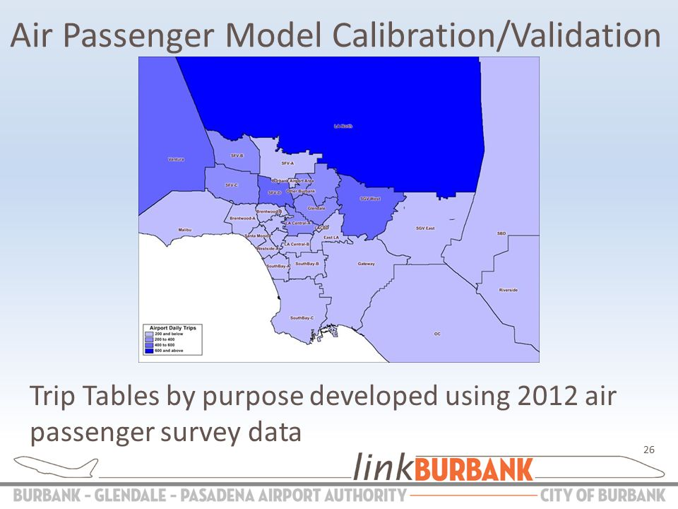 Air Passenger Model Calibration/Validation Trip Tables by purpose developed using 2012 air passenger survey data 26