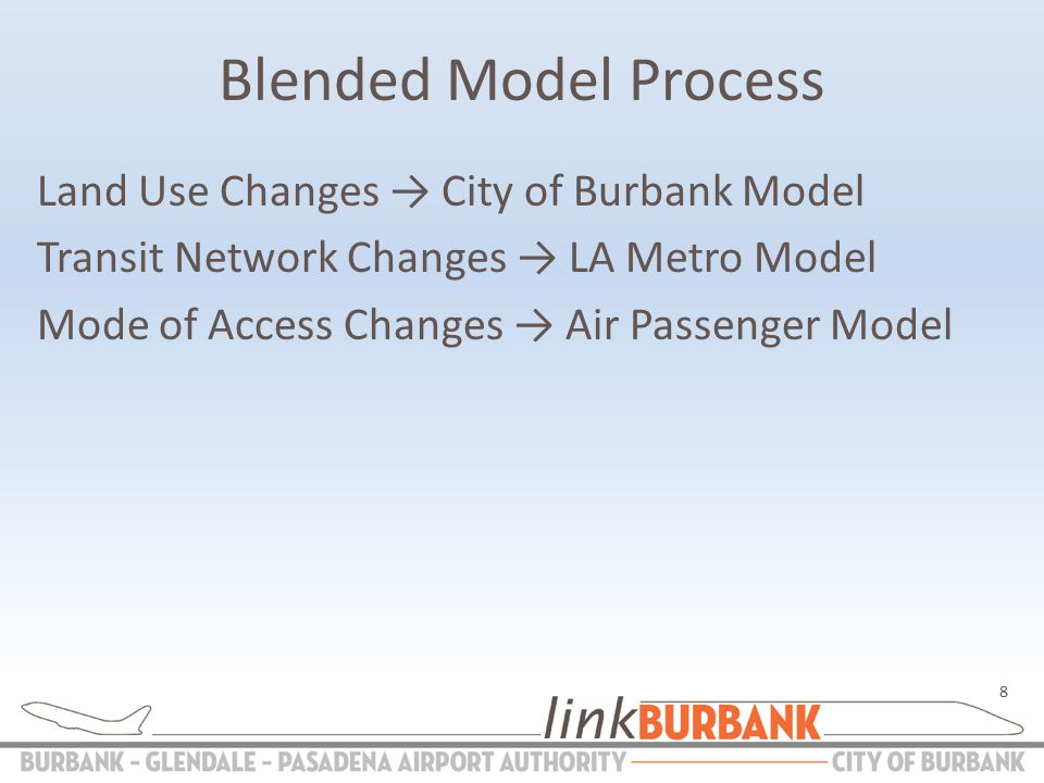 Blended Model Process Land Use Changes → City of Burbank Model Transit Network Changes → LA Metro Model Mode of Access Changes → Air Passenger Model 8