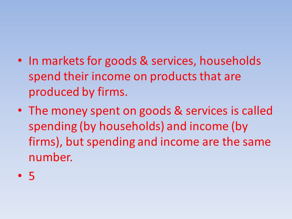 In markets for goods & services, households spend their income on products that are produced by firms.
