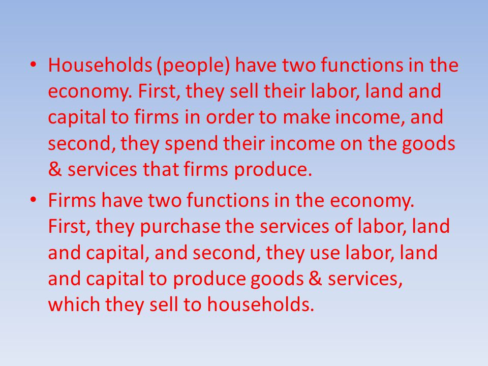 Households (people) have two functions in the economy.