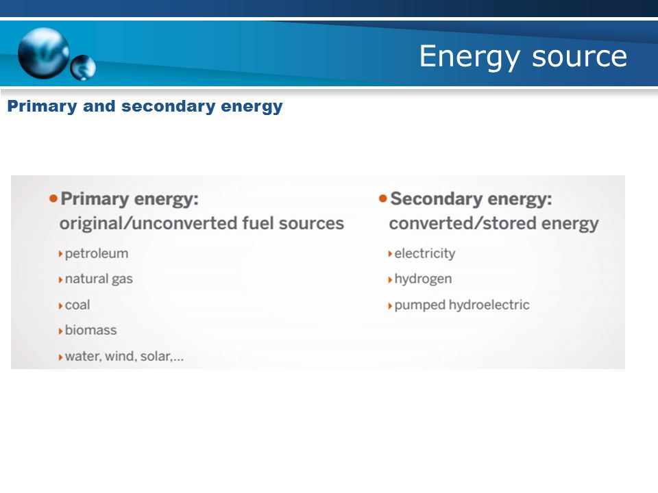 Energy source Primary and secondary energy