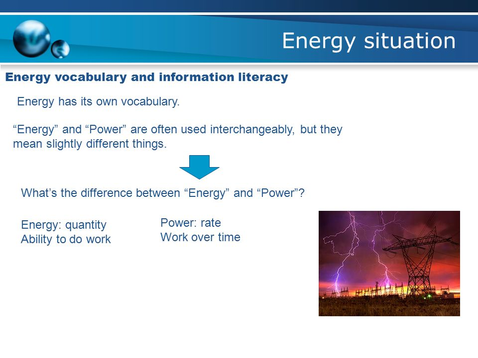 Energy situation Energy vocabulary and information literacy Energy has its own vocabulary.