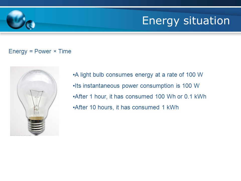 Energy situation Energy = Power × Time A light bulb consumes energy at a rate of 100 W Its instantaneous power consumption is 100 W After 1 hour, it has consumed 100 Wh or 0.1 kWh After 10 hours, it has consumed 1 kWh